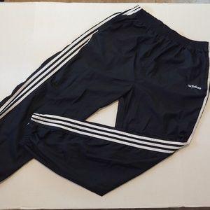 Classic black/white Adidas windbreaker joggers